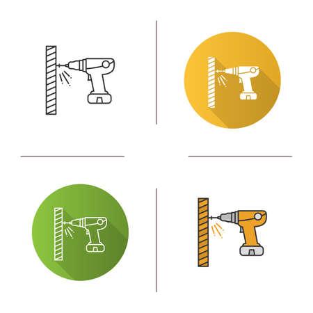 Icono de destornillador eléctrico portátil. Taladro inalambrico. Diseño plano, estilos lineales y de color. Ilustraciones vectoriales aisladas Ilustración de vector