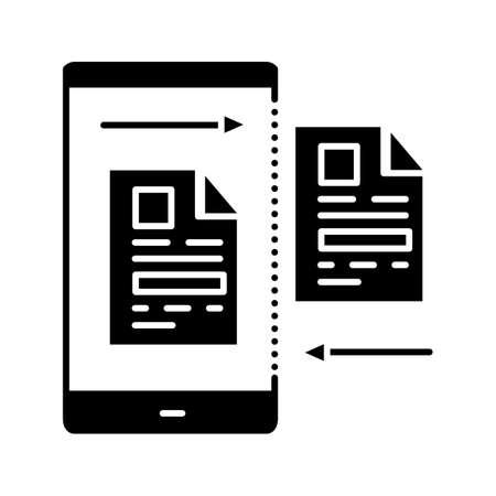 Icono de glifo de transferencia de datos. Carga o descarga de archivos. Compartir contenido. Símbolo de silueta. Espacio negativo. Vector ilustración aislada