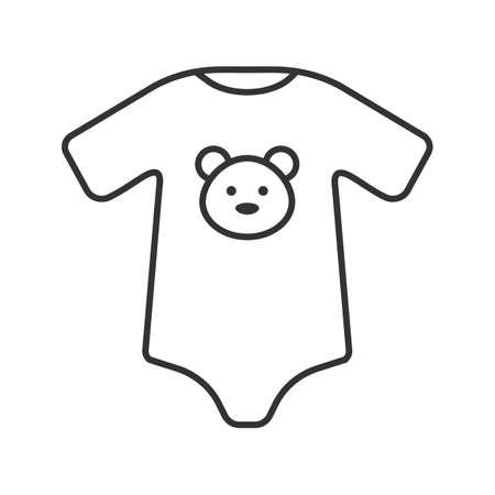 Lineare Ikone des Babybodys. Dünne Linie Abbildung. Neugeborene Babykleidung. Kontursymbol. Vektor isolierte Umrisszeichnung
