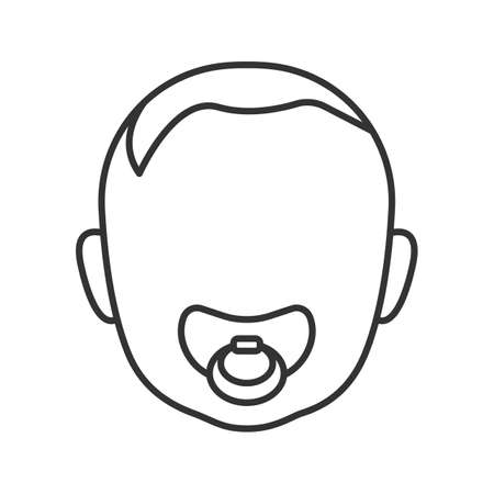 Baby face with pacifier linear icon. Thin line illustration. Child with soother in mouth. Contour symbol. Vector isolated outline drawing
