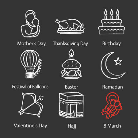Holidays chalk icons set. Mother's and Valentine's Days, Birthday, Festival of Balloons, Easter, Ramadan, Hajj, March 8th, Thanksgiving Day. Isolated vector chalkboard illustrations