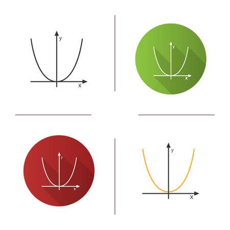 Système de coordonnées avec l'icône de parabole. Algèbre. Système d'axes. Design plat, styles linéaires et couleurs. Illustrations vectorielles isolées Vecteurs