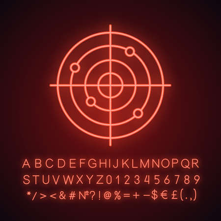 Gun target neon light icon. Aim. Radar. Glowing sign with alphabet, numbers and symbols. Vector isolated illustration Illustration