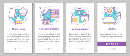 Catering onboarding mobile app page screen with linear concepts. Choosing recipes, ingredients, food preparation, serving steps graphic instructions. UX, UI, GUI vector template with illustrations