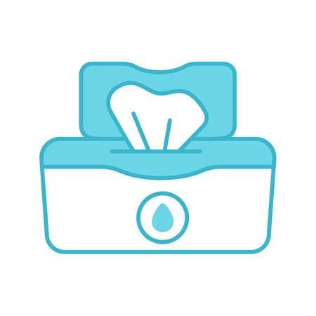 Icono de color del paquete de toallitas húmedas. Tejidos. Servilletas antibacterianas. Ilustración de vector aislado