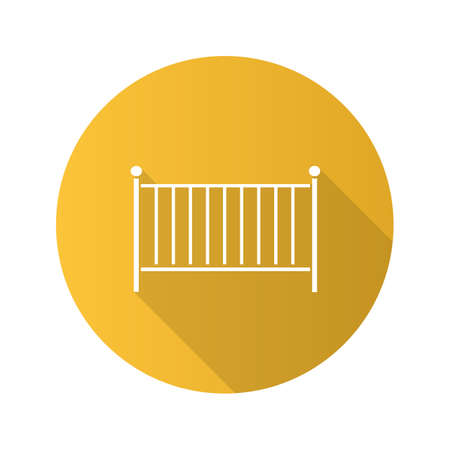 Crib flat design long shadow glyph icon. Cradle. Baby cot bed. Vector silhouette illustration