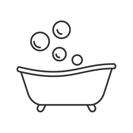 Baby bathtub linear icon. Thin line illustration. Taking bath. Contour symbol. Vector isolated outline drawing