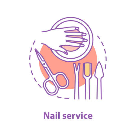 Nail service concept icon. Manicure idea thin line illustration. Beauty salon. Vector isolated outline drawing  イラスト・ベクター素材