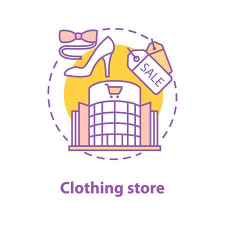 Icono de concepto de tienda de ropa. Ilustración de línea fina de idea de centro comercial. Haciendo compras. Dibujo de contorno aislado del vector
