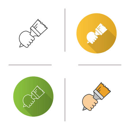 Hand holding paint brush icon. Painter's hand. Interior design. Flat design, linear and color styles. Isolated vector illustrations Illustration