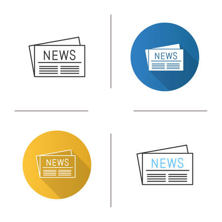 Newspaper icon. Periodical publication. Flat design, linear and color styles. Isolated vector illustrations Stock Illustratie