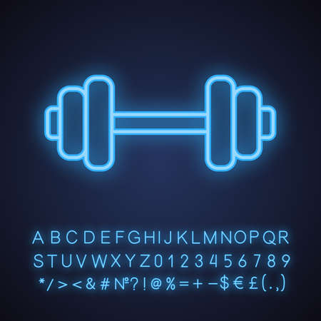 Gym neon light icon. Bodybuilding and weightlifting sport equipment. Dumbbell. Glowing sign with alphabet, numbers and symbols. Vector isolated illustration Ilustrace
