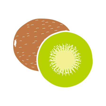 Kiwi glyph color icon. Silhouette symbol on white background with no outline. Negative space. Vector illustration