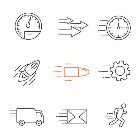 Motion linear icons set. Speed. Flying clock, startup, bullet, cogwheel, van, mailing, running man, speedometer, arrows. Thin line contour symbols. Isolated vector outline illustrations Фото со стока - 105258316