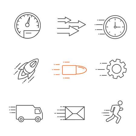 Motion linear icons set. Speed. Flying clock, startup, bullet, cogwheel, van, mailing, running man, speedometer, arrows. Thin line contour symbols. Isolated vector outline illustrations Иллюстрация