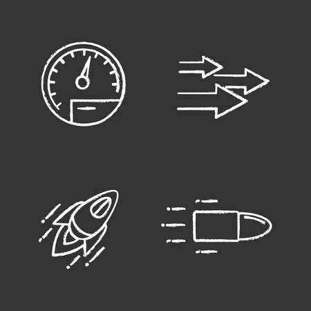 Motion chalk icons set. Speed. Speedometer, arrows, startup, flying bullet.  Isolated vector chalkboard illustrations Illusztráció