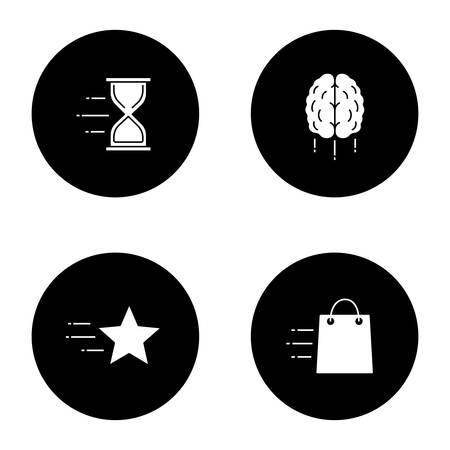 Motion glyph icons set. Speed. Flying hourglass, shopping bag, star, brain. Vector white silhouettes illustrations in black circles