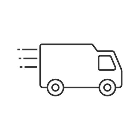 Delivery van linear icon. Thin line illustration. Fast shipping. Freight transport. Contour symbol. Vector isolated outline drawing