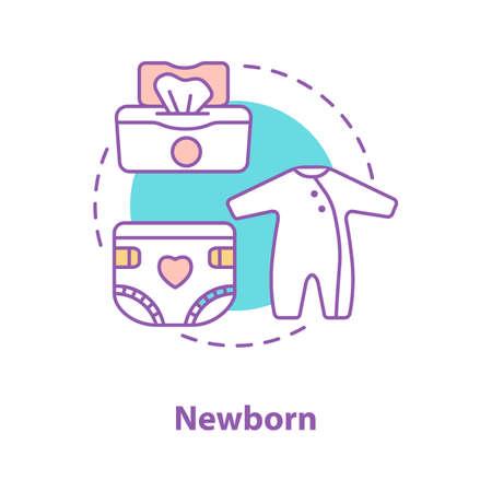 Neugeborene Baby-Konzeptikone. Kinderbetreuung Ausrüstung Idee dünne Linie Illustration. Bodysuit, Windel, Feuchttücher. Vektor isolierte Umrisszeichnung Vektorgrafik
