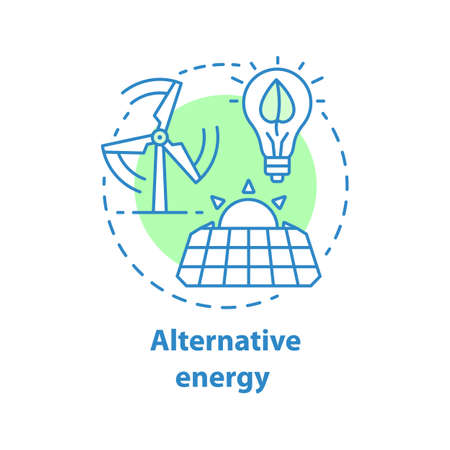 Alternative energy concept icon. Wind and solar electric system idea. Thin line illustration. Ecological electricity generation. Vector isolated outline drawing Vectores