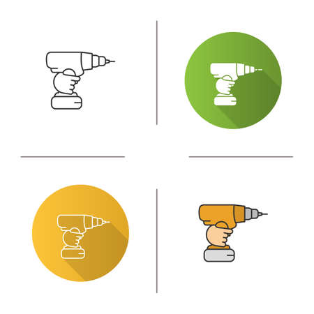 Hand holding cordless drill icon. Portable electric screwdriver. Flat design, linear and color styles. Isolated vector illustrations