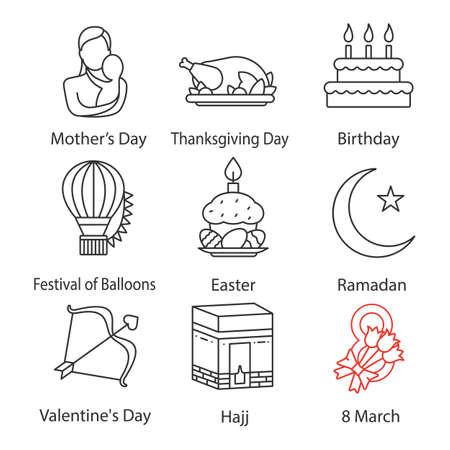 休日のリニアアイコンセット。母とバレンタインデー、誕生日、風船の祭り、イースター、ラマダン、ハッジ、3月8日、感謝祭。細い線の等高線記号。分離ベクトルアウトラインの図