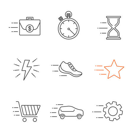 Motion linear icons set. Flying briefcase, stopwatch, hourglass, sneaker, star, cogwheel, car, fast shopping, lightning bolt.  Thin line contour symbols. Isolated vector outline illustrations