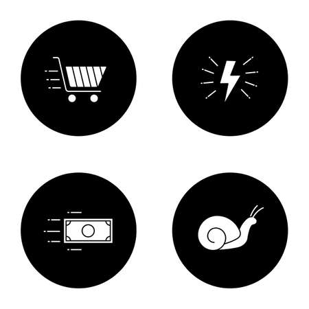 Motion glyph icons set. Speed. Lightning bolt, snail, flying paper dollar and shopping cart. Vector white silhouettes illustrations in black circles