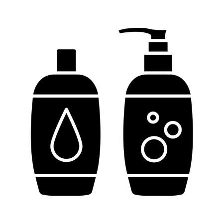 Shampoo and bath foam glyph icon. Silhouette symbol.  Soap and shower gel. Hygiene products.Negative space. Vector isolated illustration
