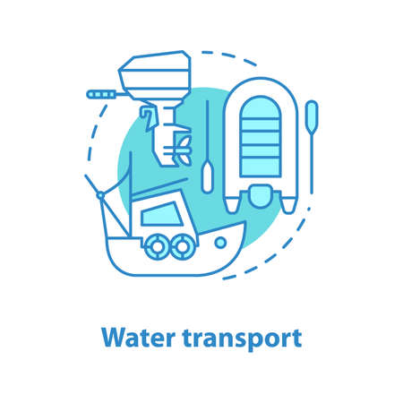 Water transport concept icon. Coble, motor boat idea thin line illustration. Fishing. Vector isolated outline drawing Stock Illustratie