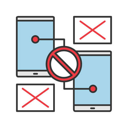 Smartphones with forbidden sign color icon. No signal or connection. Synchronization problem. Isolated vector illustration