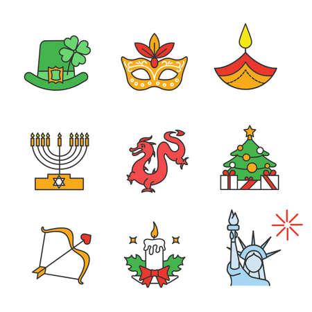 Conjunto de iconos de colores de vacaciones. Día de San Patricio, Mardi Gras, Diwali, Hanukkah, Año Nuevo Chino, Día de San Valentín, 4 de julio, Navidad. Ilustraciones vectoriales aisladas