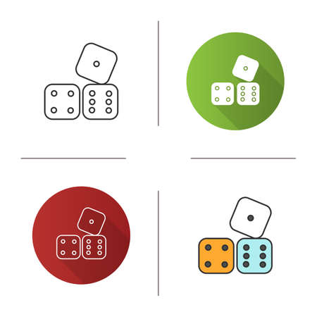 Dices icon. Probability theory. Gambling. Flat design, linear and color styles. Isolated vector illustrations Vektorgrafik