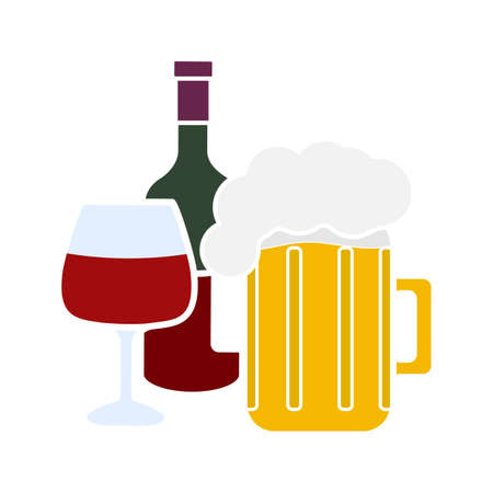 Alcohol drinks glyph color icon. Wine bottle, wineglass and beer mug with foam. Alcoholic beverages. Silhouette symbol on white background with no outline. Negative space. Vector illustration