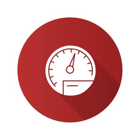 Speedometer flat design long shadow glyph icon. Dashboard. Vector silhouette illustration Vector Illustration