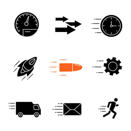 Motion glyph icons set. Speed. Flying clock, startup, bullet, cogwheel, van, mailing, running man, speedometer, arrows. Silhouette symbols. Vector isolated illustration Illusztráció