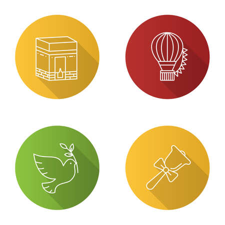Holidays flat linear long shadow icons set. Knowledge Day, Hajj, Festival of Balloons, Earth Day. Vector outline illustration