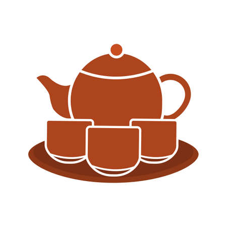 Tea set glyph color icon. Teapot, cups and plate. Silhouette symbol on white background with no outline. Negative space. Vector illustration Illustration