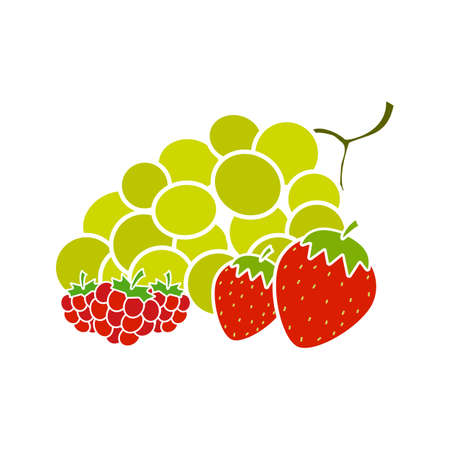 Berries glyph color icon. Bunch of green grapes, strawberry and raspberry. Silhouette symbol on white background with no outline. Negative space. Vector illustration Иллюстрация