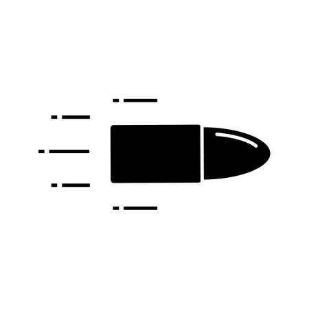 Flying bullet glyph icon. Speed. Weapon shot. Silhouette symbol. Negative space. Vector isolated illustration