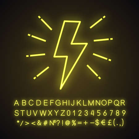 Lightning bolt neon light icon. Electricity sign. Speed and power. Glowing sign with alphabet, numbers and symbols. Vector isolated illustration Illustration