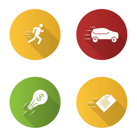 Motion flat design long shadow glyph icons set. Speed. Running man, car, flying light bulb and file. Vector silhouette illustration