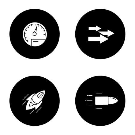 Motion glyph icons set. Speed. Speedometer, arrows, startup, flying bullet. Vector white silhouettes illustrations in black circles Illusztráció