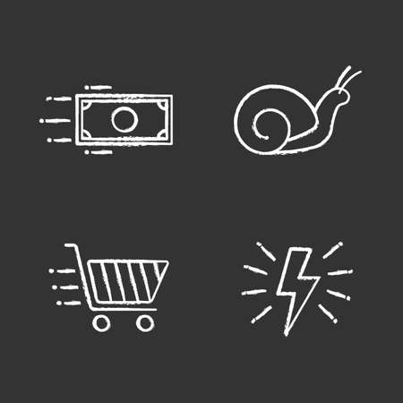 Motion chalk icons set. Speed. Lightning bolt, snail, flying paper dollar and shopping cart. Isolated vector chalkboard illustrations