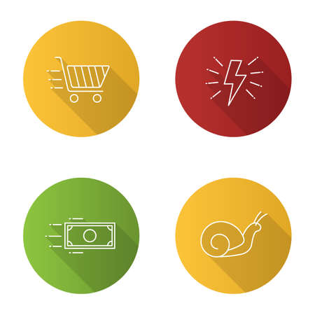 Motion flat linear long shadow icons set. Speed. Lightning bolt, snail, flying paper dollar and shopping cart. Vector outline illustration