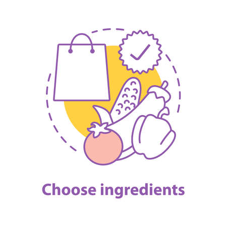 Choosing ingredients concept icon. Grocery shop idea thin line illustration. Doing purchases. Shopping. Vector isolated outline drawing