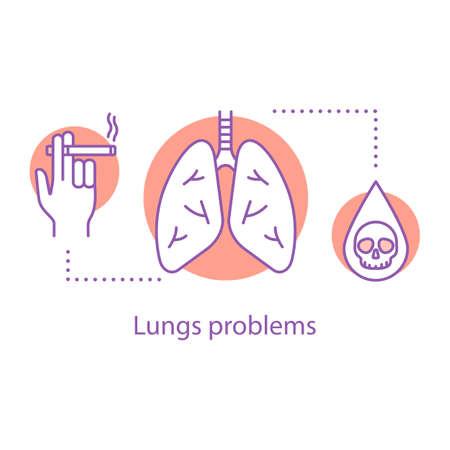 Icono de concepto de problemas de pulmones. Enfermedad del sistema respiratorio. Fumar riesgos idea ilustración de línea fina. Dibujo de contorno aislado del vector