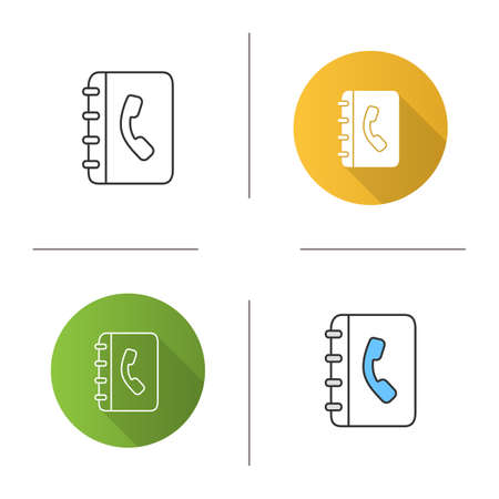Telephone book icon. Phone contacts. Notepad with handset. Flat design, linear and color styles. Isolated vector illustrations