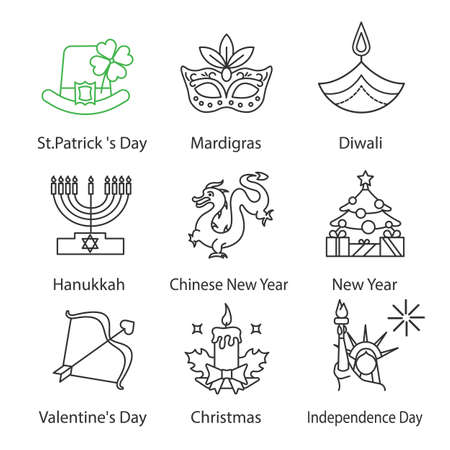 Holidays linear icons set. St. Patrick's Day, Mardi Gras, Diwali, Hanukkah, Chinese New Year, Valentine's Day, July 4th, Christmas. Thin line contour symbols. Isolated vector outline illustrations