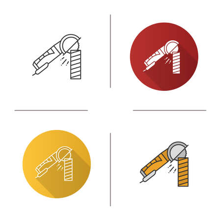 Angle grinder machine polishing wooden plank icon. Flat design, linear and color styles. Isolated vector illustrations Illustration